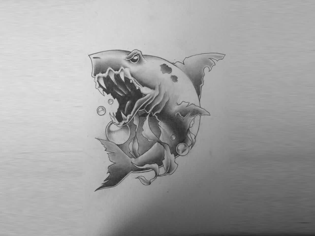 Bite Of The Shark Tattoo Design