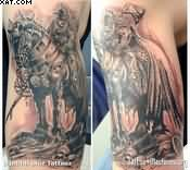 Black And Grey Ink Warrior Horse Tattoos