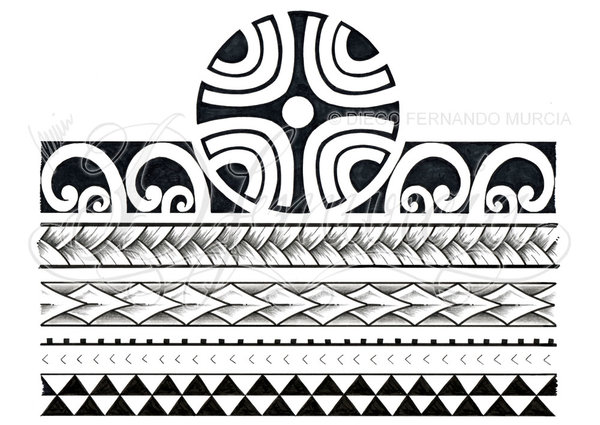 Black And Grey Polynesian Tattoo Design