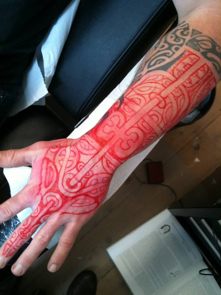 Black And Red Polynesian Tattoos On Arm