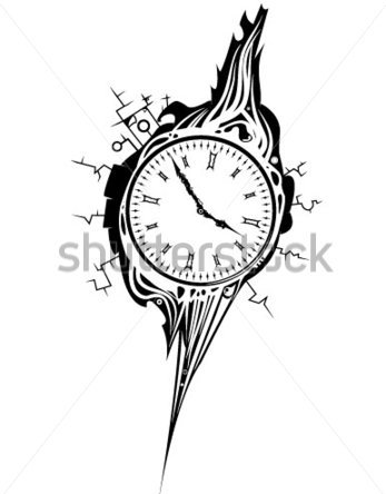 Black And White Clock Tattoo Design