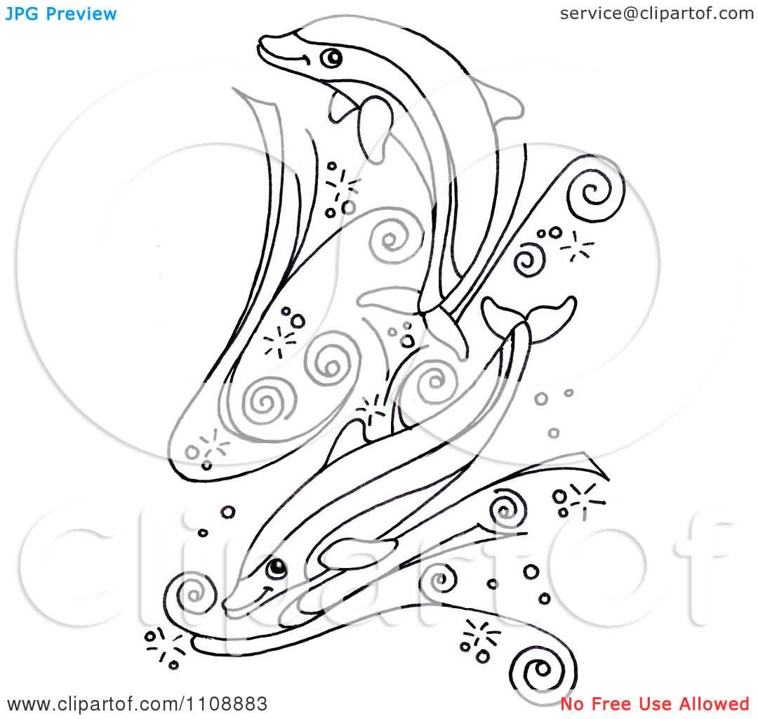 Black And White Dolphins Swimming In Swirl Waves Tattoo Design