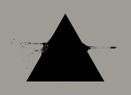 Black And White Gun Shot Triangle Tattoo Design