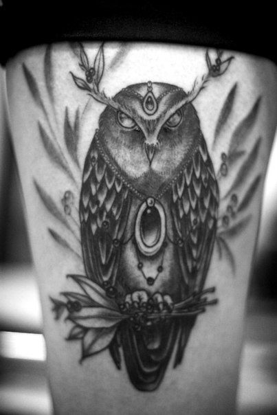 Black And White Horned Owl Tattoo