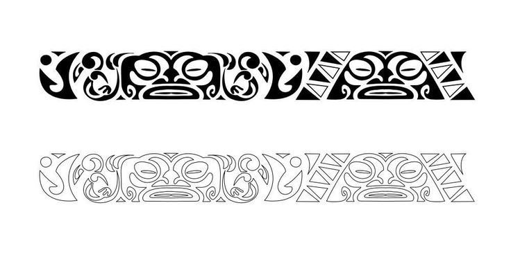 Black And White Polynesian Armband Tattoo Sample