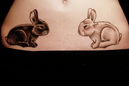 Black And White Rabbit Tattoos On Hips