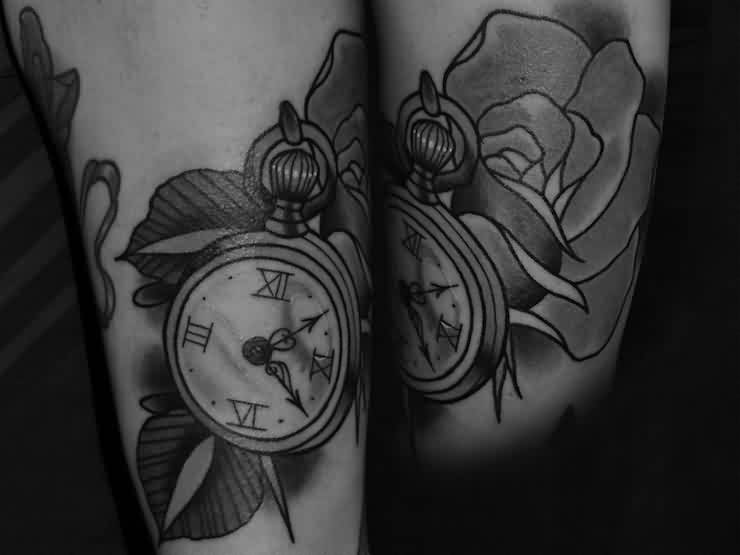 Black And White Rose And Clock Tattoos