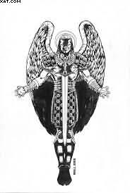 Black And White Warrior Angel Tattoo Design