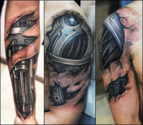 Black Biomechanical 3D Tattoos