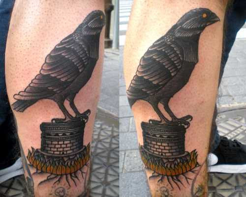 Black Crow Leg Tattoos For Boys