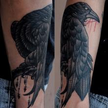 Black Crow On Moon Tattoos