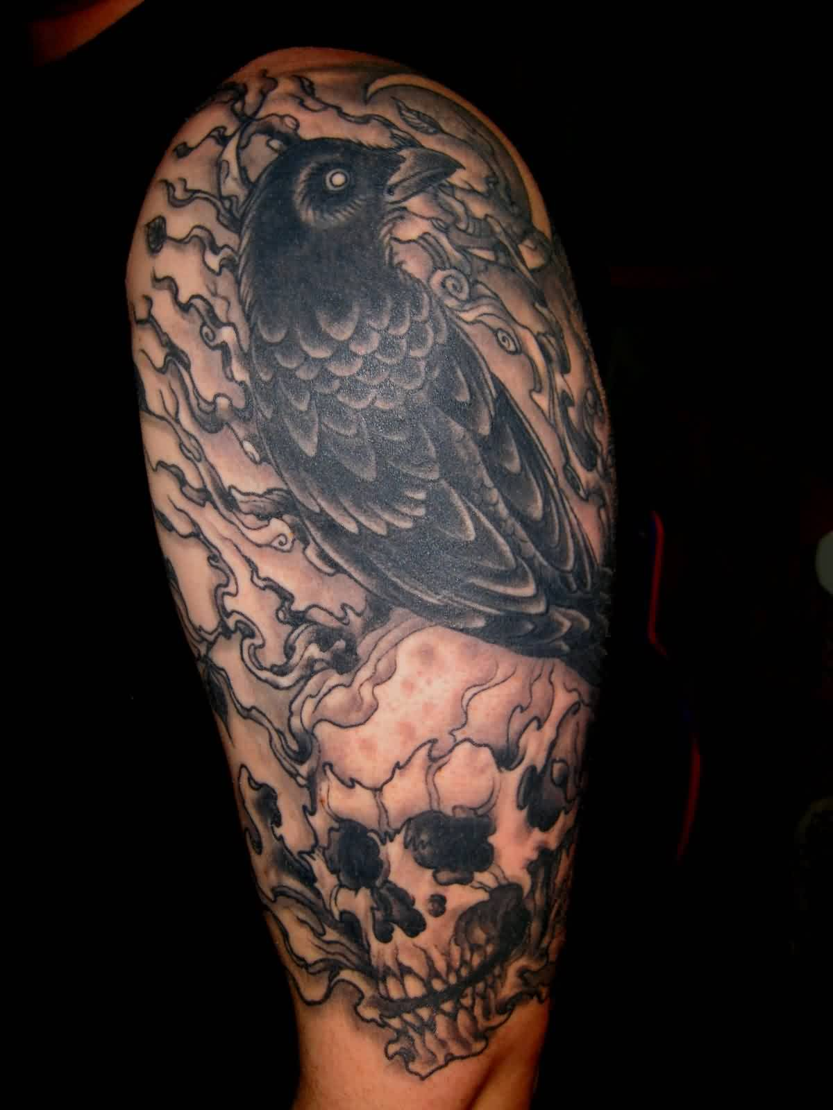 Black Crow On Skull Tattoo On Half Sleeve