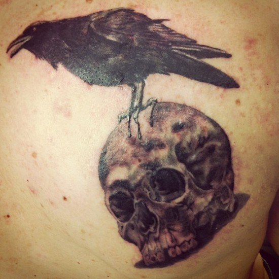 Black Crow On Skull Tattoo