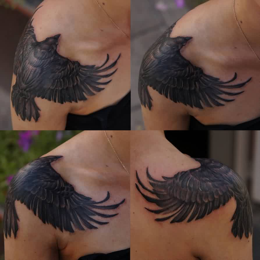 Black Crow Shoulder Tattoos