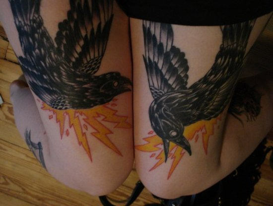 Black Crow Thigh Tattoos