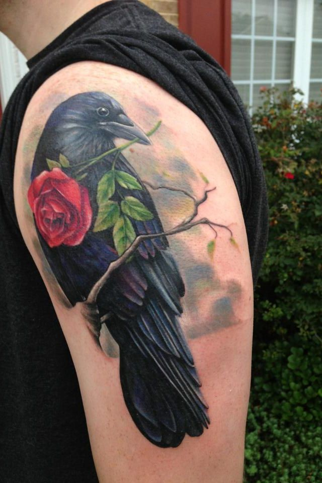 Black Crow With Rose Tattoo On Shoulder For Guys