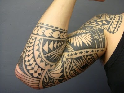 Black Hawaiian Polynesian Tattoo On Sleeve