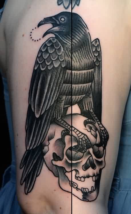 Black Ink Crow On Skull Tattoo Image