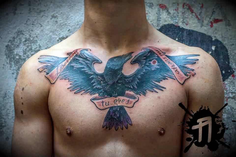 Black Ink Crow With Banner Tattoo On Chest