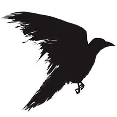 Black Ink Flying Crow Tattoo Design