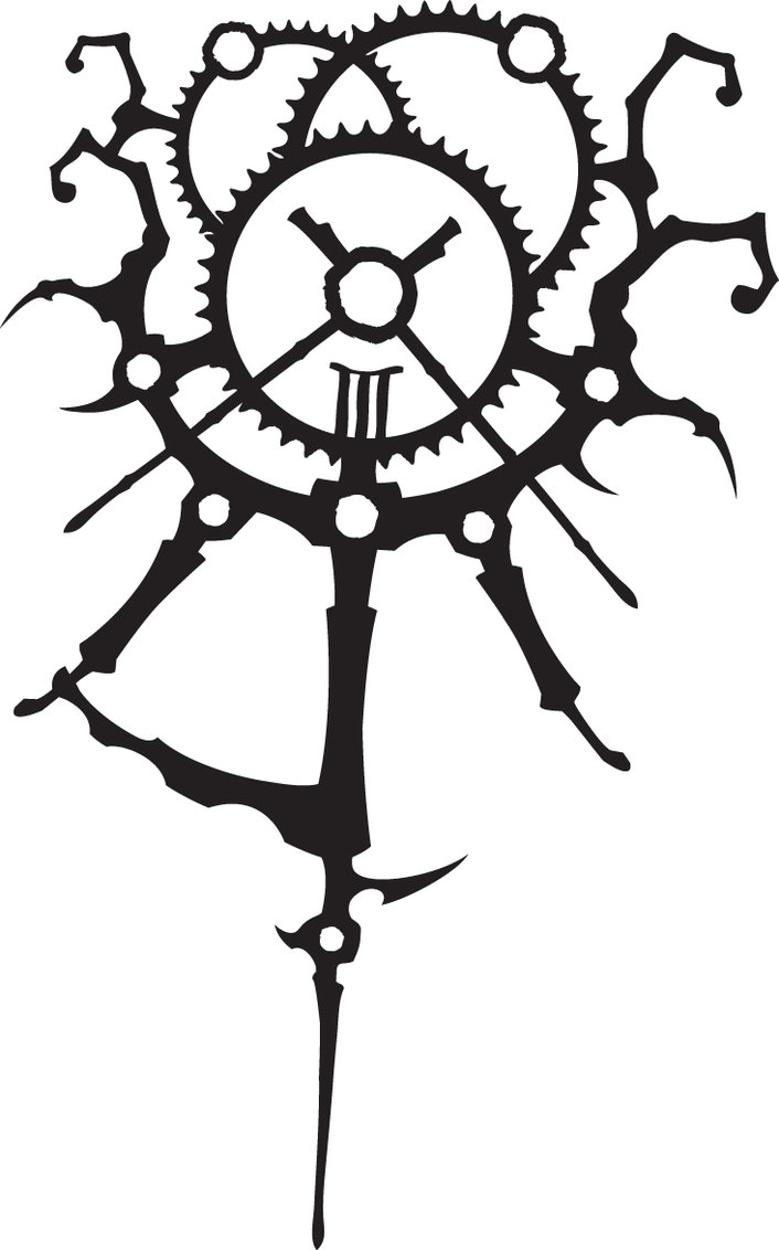 Black Ink Gears Clock Tattoo Design
