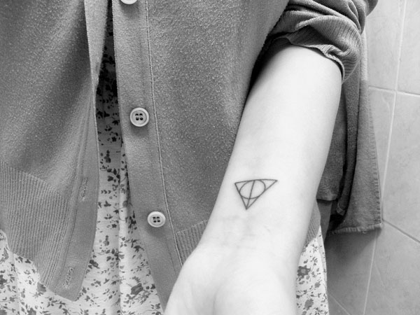 Black Ink Harry Potter Triangle Tattoo On Left Wrist