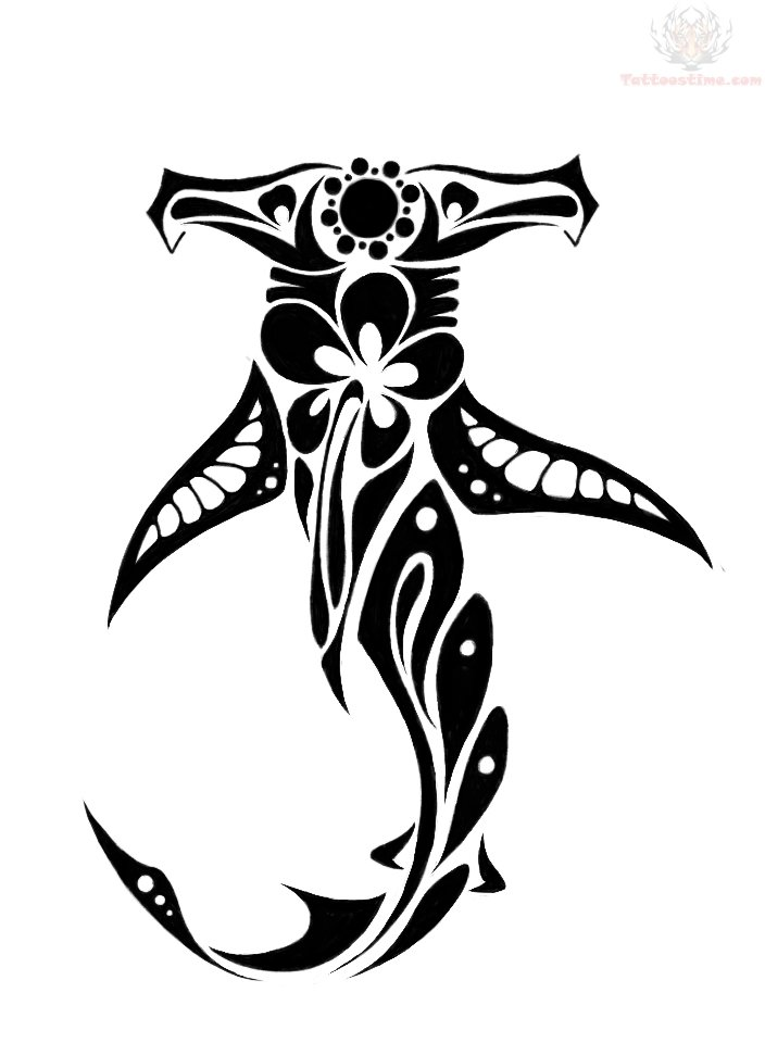 Black Ink Hawaiian Shark Tattoo Design