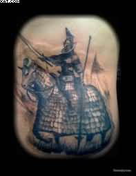 Black Ink Horse Warrior Tattoo
