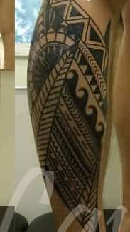 Black Ink Polynesian Leg Tattoos