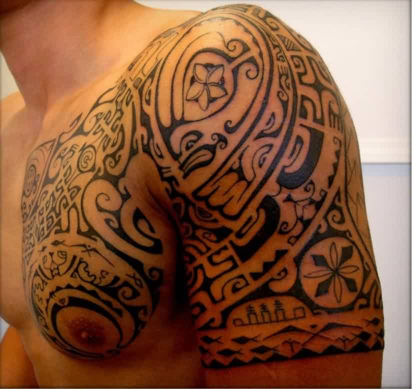 Black Ink Polynesian Maori Tattoo On Chest And Half Sleeve