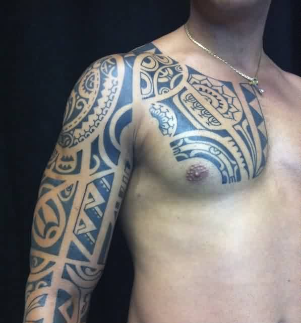 Black Ink Polynesian Tattoo On Chest And Right Sleeve