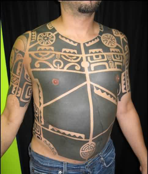 Black Ink Polynesian Tattoos On Upperbody
