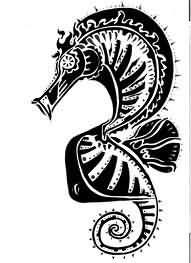 Black Ink Seahorse Tattoo Model