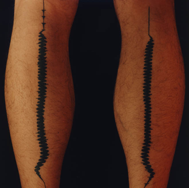 Black Ink Sound Wave Leg Tattoos