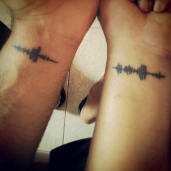 Black Ink Sound Wave Tattoos On Wrist For Couple