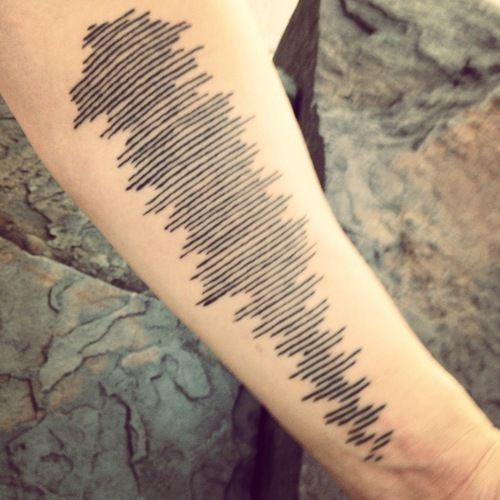 Black Ink Sound Waves Tattoos On Forearm