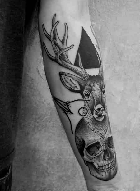Black Ink Triangle Tattoo With Deer And Skull