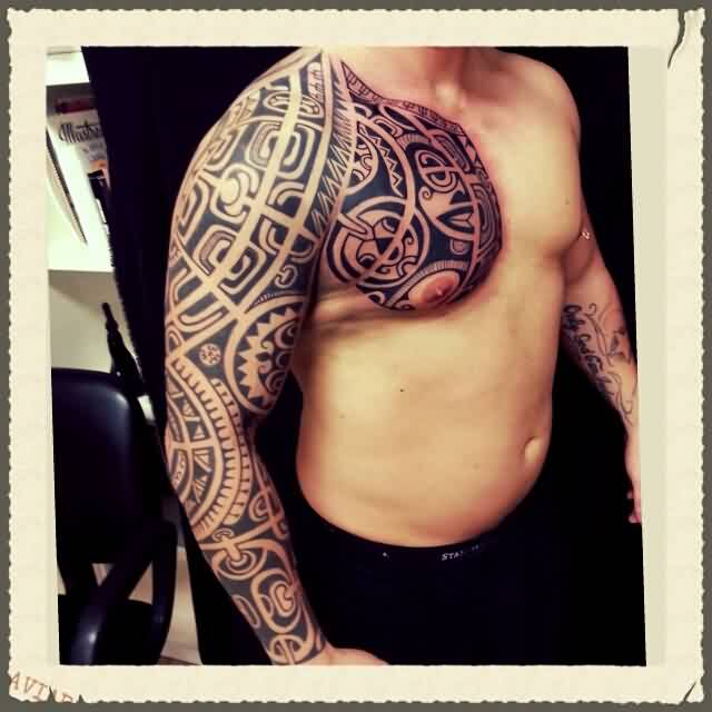 Black Ink Tribal Polynesian Tattoo On Right Sleeve And Chest