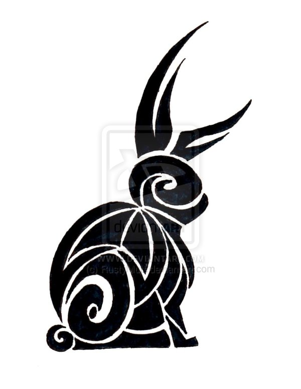 Black Ink Tribal Rabbit Tattoo Design