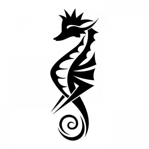 Black Ink Tribal Seahorse Tattoo Design (2)