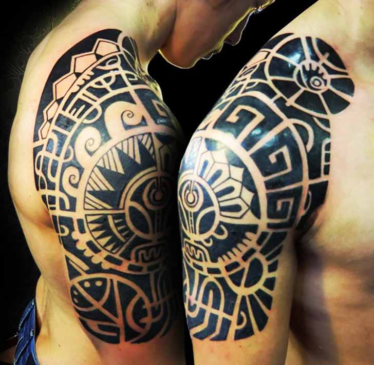 Black Maori And Polynesian Tattoos On Half Sleeve