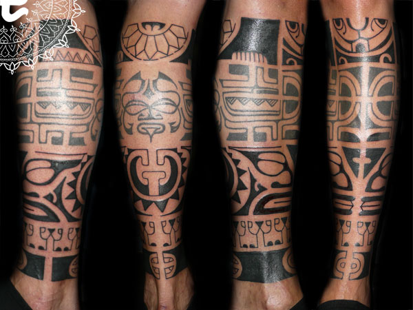 Black Maori Polynesian Leg Band Tattoos