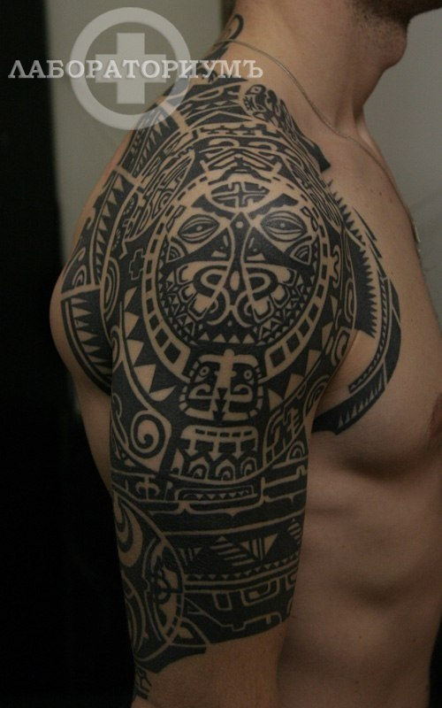 Black Maori Polynesian Tattoo On Half Sleeve