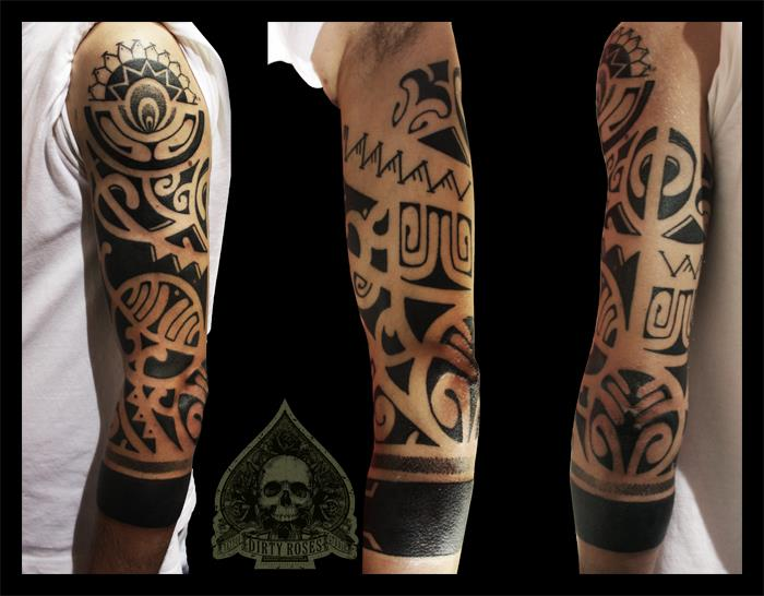 Black Maori Polynesian Tattoo On Sleeve