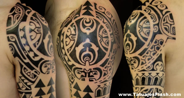 Black Maori Polynesian Tattoos On Half Sleeve (2)