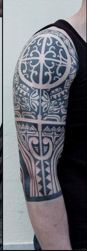 Black Maori Polynesian Tattoos On Half Sleeve