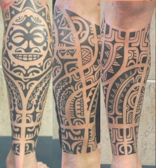 Black Maori Polynesian Tattoos On Leg