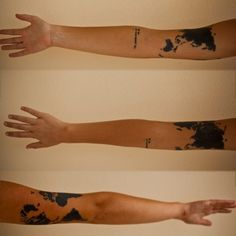Black Map Tattoos On Arm