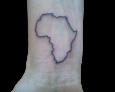 Black Outline African Map Tattoo On Wrist