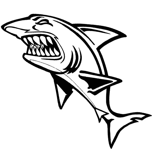 Black Outline Angry Shark Tattoo Stencil